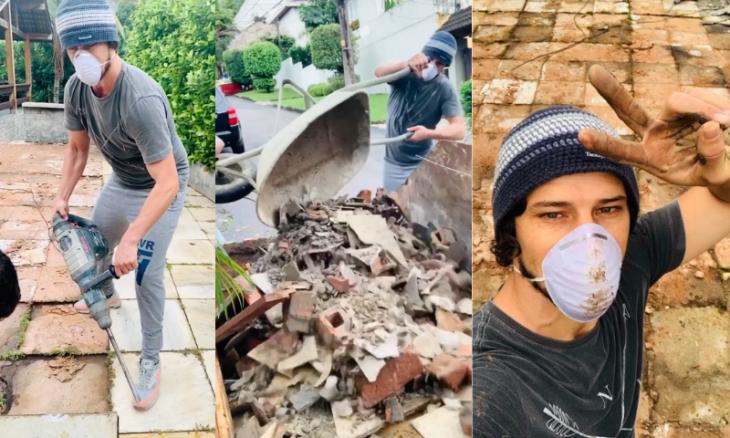 José Loreto vira ajudante de pedreiro em reforma na própria casa