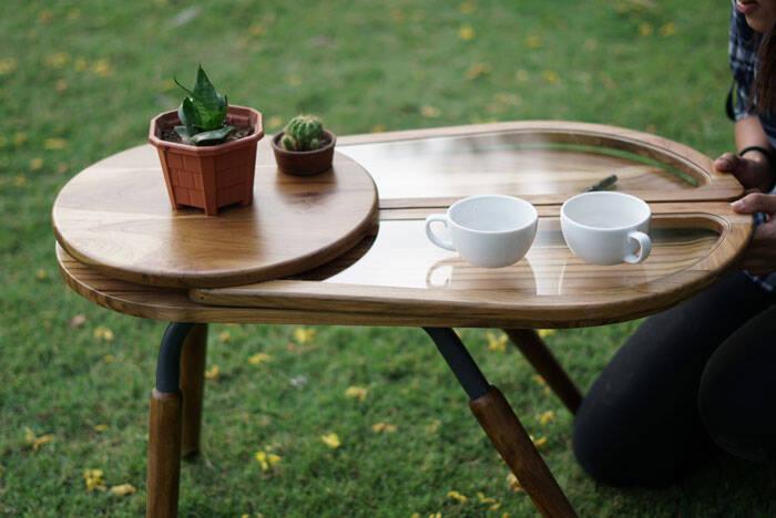 Esta mesinha de café foi inspirada pelas asas de um besouro