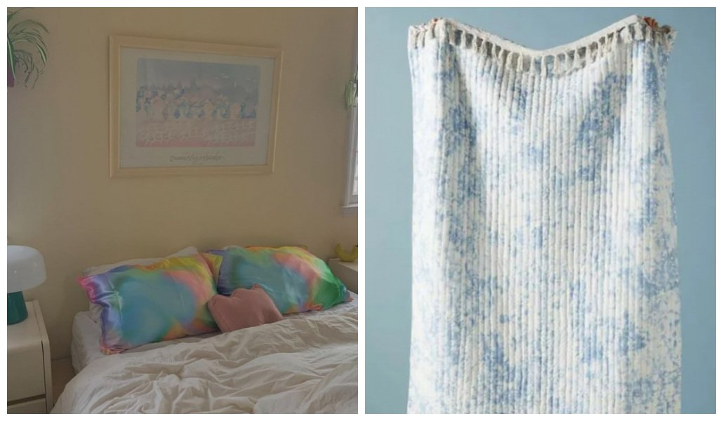Decoração tie dye de roupa de cama
