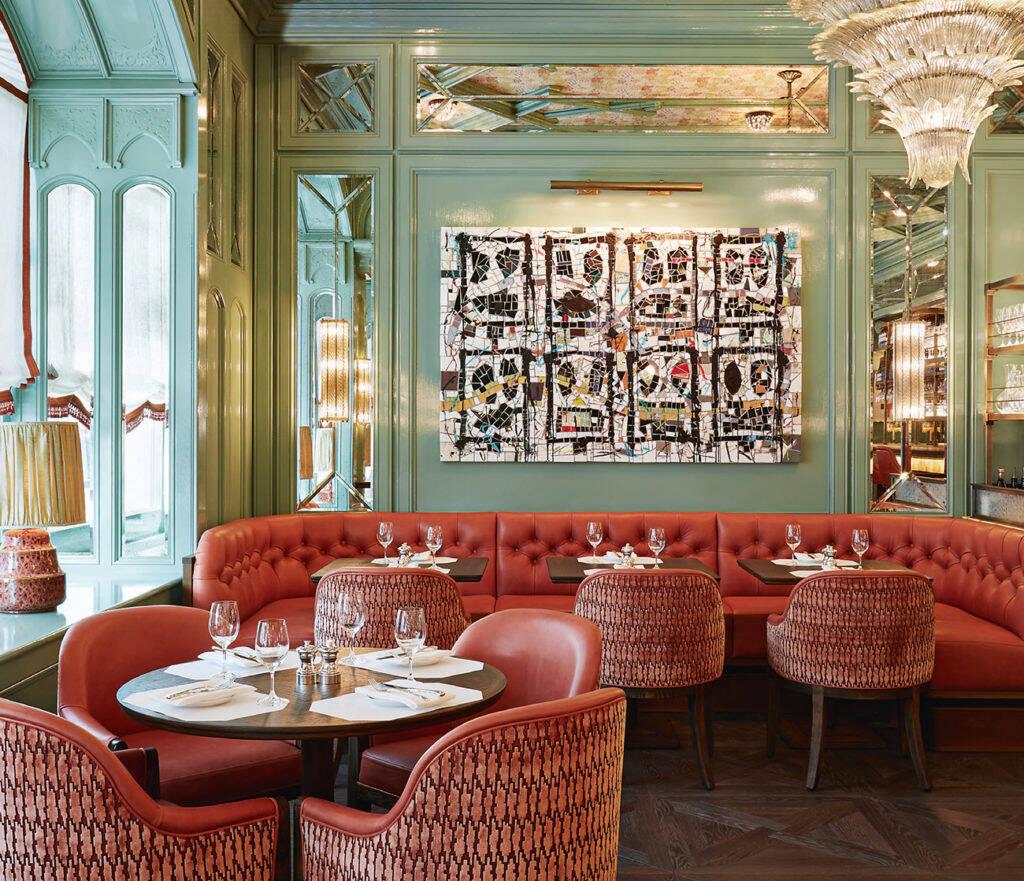 Baur's brasserie & bar em hotel Baur au Lac, Zurique by Martin Brudnizki. Foto: James McDonald, Divulgação de Martin Brudnizki Design Studio