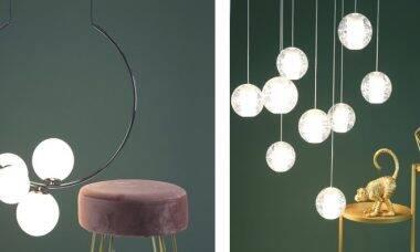 Luminárias com esferas. Fotos: Divulgação/Yamamura