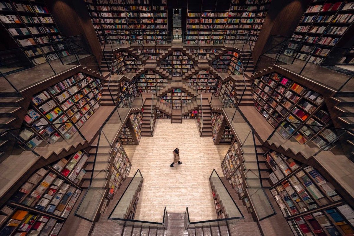 Livraria chinesa. Fotos: Reprodução/This is Colossal