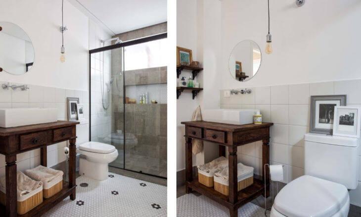 Neste banheiro projetado pela Palladino Arquitetura, que resgata vários elementos de memória afetiva, o destaque na paginação dos revestimentos, caso das pastilhas de porcelana hexagonais no piso rouba a cena | Fotos: Rogério Cajuí