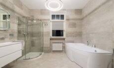 Banheiro travertino. Crédito: Max Vakhtbovych