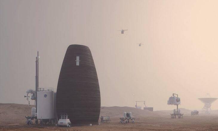 Colmeia impressa em 3D em Marte. Imagens: Plompmozes
