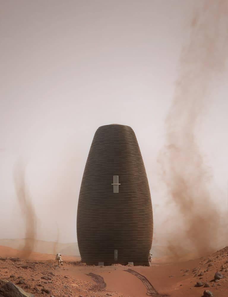 Colmei impressa em 3D em Marte. Imagens: Plompmozes