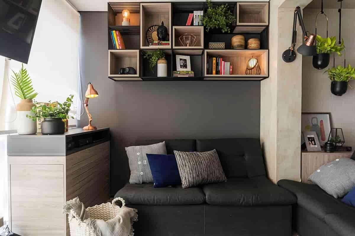Apartamento de 34m² repleto de soluções em iluminação da Yamamura   Projeto de Andrade & Mello Arquitetura e fotos de Emerson Rodrigues