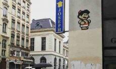 Mosaico do Mario Bros: arte de rua. Fotos: Reprodução/Instagram