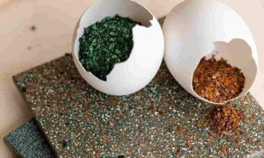 Azulejos carrelé, feitos de casca de ovo, criam efeito de mosaico. Fotos: Divulgação/ Nature Squared