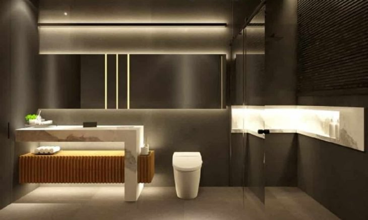 Banheiro preto e branco minimalista. Crédito: Hayasaki Arquitetura