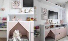 Mascotinha do apartamento projetado pela arquiteta Marina Carvalho, a Kate ganhou uma casinha no nicho com futon executado no quarto da filha do casal de moradores | Foto: Evelyn Müller
