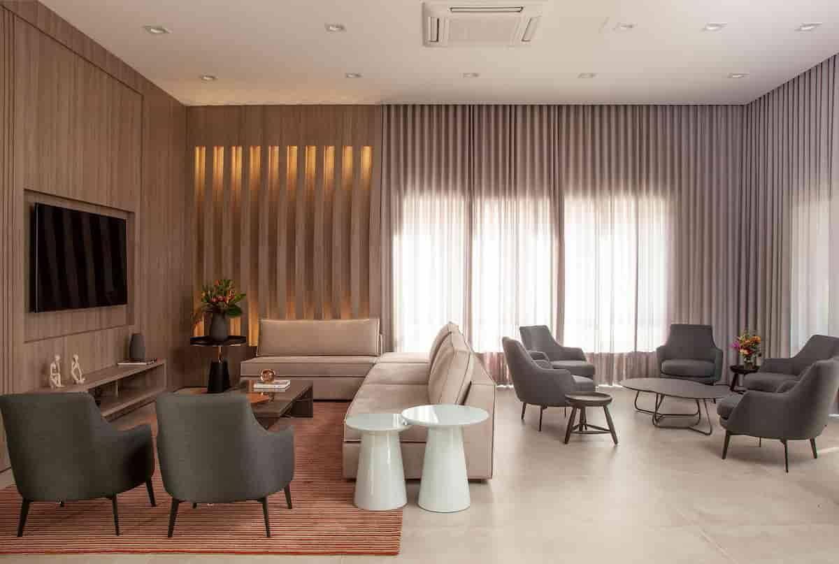 Área social com estrutura completa para receber bem!   Projeto de Dantas & Passos Arquitetura e foto de Luis Gomes